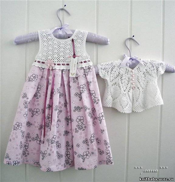 Платье с вязаной кокеткой схема
