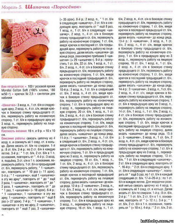 Вязание спицами шапочек для детей от 0 лет