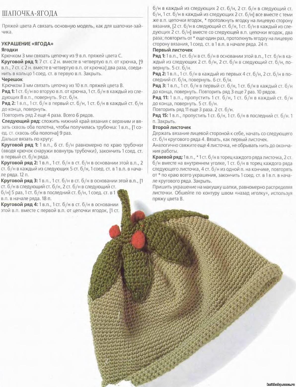 Вязание шапочки ягодка